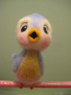 needle felted bluebird // I adore this little bird, he reminds me of the little birds in Cinderella....wish he were mine...LOL