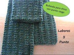 Bufanda con trenzas reversibles para caballero tejida en dos agujas o palitos Cowl, Scarves, Knitting, Pattern, Crafts, Ganchillo Ideas, Youtube, Unisex, Google