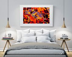 Contempory Art , Modern Wall Print, Abstract Wall Print, Large Poster Art, Flower Wall Print, Flower, Psychedelic flower by Alice8Red on Etsy