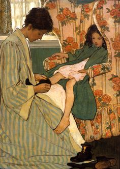 Jessie Willcox Smith...the child in this illustration reminds me of how my youngest, Eli slumps and waits for me to dress him...LOL.