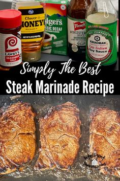 5 minutes · Gluten free · Simple and easy with only 5 common ingredients, this homemade Steak Marinade recipe is simple the best. We always marinade our steaks in this no matter if we are grilling or cooking on the flat top… Homemade Steak Marinade, Steak Marinade Recipes, Pork Recipes, Crockpot Recipes, Best Steak, How To Grill Steak, Ham Steaks, Grilled Steaks, Bulk Food