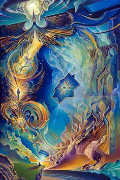 """The Myth of Freedom"" by Michael Divine  48"" x 32"" Acrylic/Canvas  #mythoffreedom #spiritual #buddha #visionary #visionaryart #abstract #cosmic #sacredgeometry"
