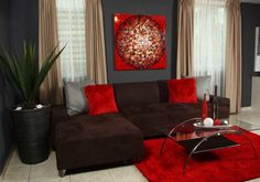 Red And Brown Living Room Decor elements can add a contact of favor and design to any residence. Red And Brown Living Room Decor can mean many things to many… Brown Living Room Decor, Living Room Color, Red Living Room Decor, Living Room Decor Apartment, Couches Living Room, Black Living Room, Brown Living Room, Living Decor, Red Rooms