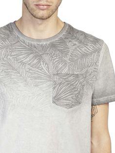 Grey Printed Yoke Fade Washed T-Shirt