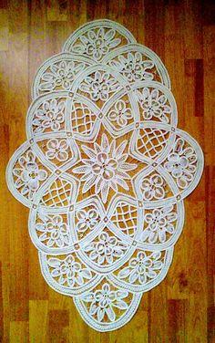 Large lace doilyVintage lace Crochet doilyCream lace by WowOne