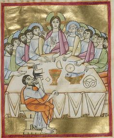 The Last Supper, from a bishop's benedictional made in Bavaria, Germany, ca. 1030–40. J. Paul Getty Museum, Los Angeles: MS Ludwig VII 1, fol. 38. Note the pretzel on the table.