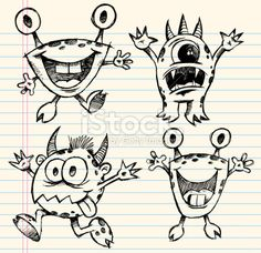 Doodle Sketch Monster Set Royalty Free Stock Vector Art Illustration