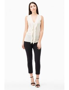 Sleeveless Top, V-neck trimmed with ruffle on the front. Model shown is 177 cm wearing a size Small. Made in Italy Spring Summer Collection 2017 www.fuzzishop.com & www.fuzzishop.us free shipping and free returns - spedizione e resi gratuiti - made in italy -#fuzzi #fuzzishop #colorful #glam #girls #women #womenswear #fashionblogger #cool #ootd #outfit #fashion #style #outfits #passion #love #gift #stylish #shopping