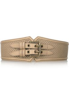 Love this Burberry Double-buckle lattice leather belt for spring over a bright color dress.