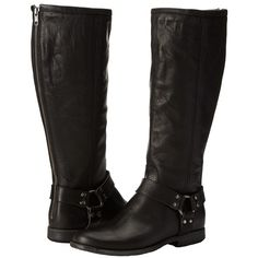Frye Phillip Harness Tall (Black Extended) Women's First Walker Shoes ($280) ❤ liked on Polyvore featuring shoes, boots, knee-high boots, knee high leather boots, tall black boots, black leather knee high boots, leather boots and high boots