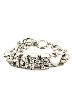 Silver & Crystal Diamond Hope Charm Bracelet #jewelry #women #ladies #charm #bracelet #fashion #hope