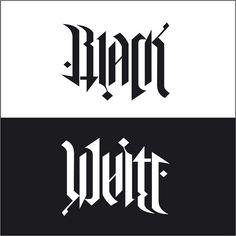 """Black / White"", rotational ambigram, via Flickr."