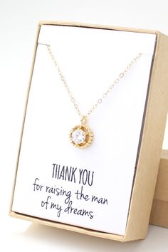 Thank you for raising the man of my dreams. Gold cubic zirconia solitaire necklace