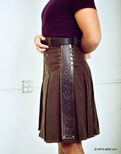 Brown Steampunk with Leather Accent Pleat by techdragon on Etsy, $380.00