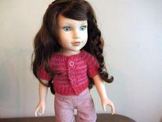 Gilet top down rayé rose, tricoté main pour  : Jeux, jouets par tante-jeanne sur ALittleMarket
