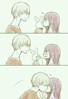 Kyaaaa -w- 1 hour looking this picture *q* (Kaneki X Touka from Tokyo Ghoul) Anime Couple Kiss, Manga Couple, Cute Couple Comics, Cute Comics, Anime Couples Drawings, Anime Couples Manga, Anime Couples Cuddling, Anime Couples Sleeping, Images Kawaii