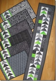 Geese Across the Table set - placemats and runner featuring flying geese and a dash of contrast. Pattern on Craftsy.com by althea