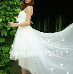 (My favorite) long in back short in front white wedding dress