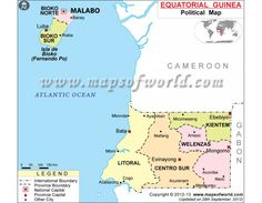 Political map of Equatorial Guinea illustrates the surrounding countries with international borders, 7 provinces boundaries with their capitals and the national capital. Guinea Africa, Capital Des Pays, Social Studies Worksheets, Country Maps, African Countries, Study Materials, Africa Travel, Republic Of The Congo, Geography