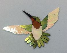 "PRECUT STAINED GLASS ART KIT MALE HUMMINGBIRD MOSAIC INLAY GARDEN STONE 5.5"" x5"""