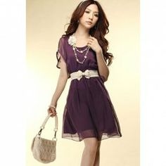 Fashionable and Sweety Style Scoop Neck Solid Color Dolman Sleeves Dress For Women
