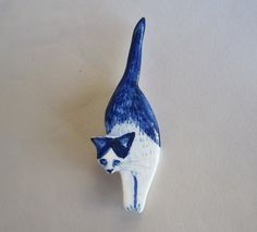 Handpainted Delft porcelain Brooch  Cat by HarrietDamave on Etsy
