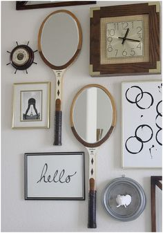 DIY gallery wall | repurposed vintage tennis rackets into mirrors | via bungalow m