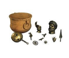 The Felmingham Hall hoard consists of bronze statuettes buried in a large pottery jar. It is likely to be a temple hoard, and reveals the combination of classical and native religious traditions typical in Roman Britain. From left to right: The bronze rattle, reconstructed from the handle, two sides and binding which were separate when found, was probably used in divination or other religious ritual. The lar is in purely Roman style. Lares were protective domestic spirits whose images were…