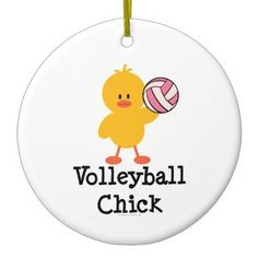 "Cute Volleyball Chick t-shirts, tees and more apparel and merchandise with a yellow chick serving a pink volleyball. These items make a cute gift for a volleyball coach, volleyball mom or volleyball player on a girls or womens volleyball team. Click on the following link to see our complete line of Chrissy H. Studios <a href=""http://www.zazzle.com/sportyteesgifts/gifts?cg=196801262710662598"">Volleyball T-shirts and Gifts</a>."