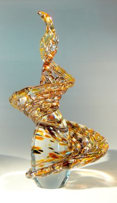 Glass Art Sculpture abstract and fluid Auburn by Glassometry