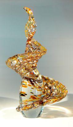 "Laurel Marie Hagner's Signature Woven Glass Art Sculpture, Abstract and Fluid, ""Auburn Spiral"""