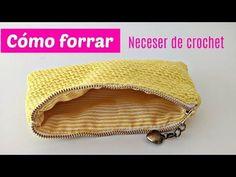 Como forrar un neceser tejido a crochet - YouTube