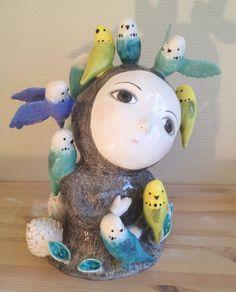 Ceramic - Parakeets surround her - love this piece!