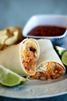 Easy, quick, inexpensive, make ahead! ~ cheesy beans and rice burritos for lunches or snacks