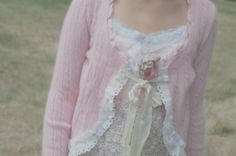 Pink Cashmere Blend Sweater Cardigan Shabby Upcycled ClothingWomens Clothing XSmall Mint Vintage Ribbon Eyelet Soft Pink Cable Knit Silkn