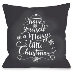 "Merry Little Christmas"" Indoor Throw Pillow by OneBellaCasa, 16""x16"