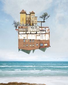 """archatlas: """" The Art of Matthias Jung We have featured the amazing collages by Matthias Jung before, but could not resist sharing these new pieces in the series of surreal architecture with. Collage Kunst, Art Du Collage, Digital Collage, Collage Architecture, Architecture Photo, Folding Architecture, School Architecture, Photomontage, Collages"""
