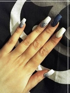 My new nail art in winter design ♥ bue shimmer