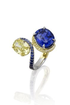 """A yellow diamond and an unheated natural sapphire come together to create this breath-taking Gemini ring"" Boodles Sapphire Necklace, Sapphire Jewelry, Sapphire Gemstone, Diamond Jewelry, Natural Sapphire, Gems Jewelry, Fine Jewelry, Bijou Box, Do It Yourself Fashion"