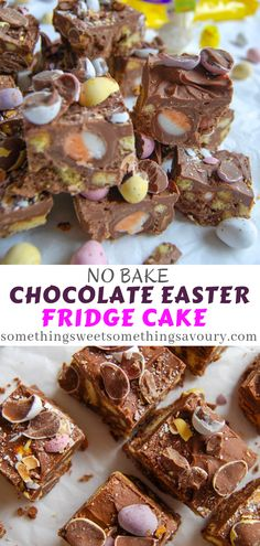 No Bake Chocolate Easter Fridge Cake - an easy chocolate slice full of biscuits, Cadbury Creme Eggs and Mini Eggs! Perfect for using up all that Easter chocolate! Chocolate Fridge Cake, Easter Chocolate, Chocolate Desserts, Chocolate Heaven, Chocolate Slice, Chocolate Chips, Dessert Simple, Tray Bake Recipes, Baking Recipes