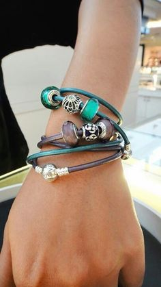 PANDORA New Smooth Triple Leather Bracelets in Purple n Teal. Nice Colour Combo ♡ #PandoraPassion