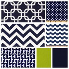 Custom Baby Boy Bedding - Blanket, Sheet and Crib Skirt in Geometrics, Chevrons, Navy and Lime on Etsy, $175.00