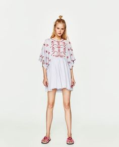 ZARA - TRF - FULL-BODIED DRESS WITH EMBROIDERED DETAILS
