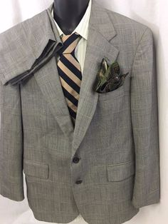 2PC Polo University Club Ralph Lauren Suit Windowpane Houndstooth Virgin Wool #RalphLauren #TwoButton