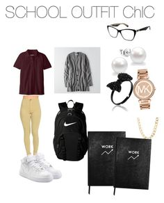 """""""WGHS Style"""" by goddessjackson on Polyvore featuring American Eagle Outfitters, Dolce&Gabbana, NIKE, Michael Kors, Charlotte Russe and Sloane Stationery"""