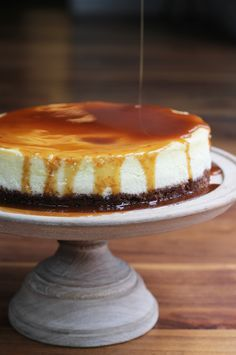 Pecan Crusted Cheesecake with Salted Bourbon Caramel