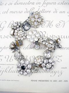 Vintage Rhinestone Button Bracelet Number 28 by PaulaMontgomery, $90.00
