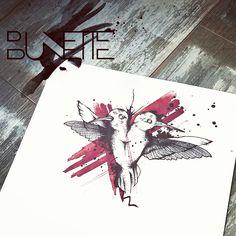 Hummingbird trash polka dotwork tattoo bunette
