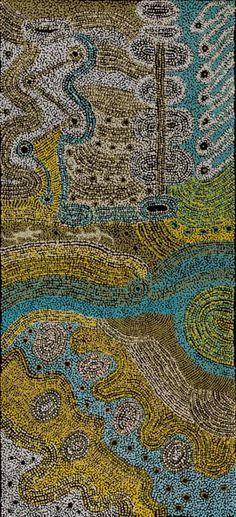 Alison Munti Riley My beautiful country of Ernabella in the olden days Acrylic on canvas, 68 x 150 cm Ernabella Arts APY Lands. For more Aboriginal art visit us at www.mccullochandmcculloch.com.au #aboriginalart #australianart #contemporaryart