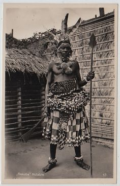 Africa | Bakuba nobleman. Congo. ca. 1930 | Scanned postcard; photographer Casimir Zagourski